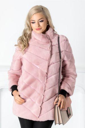 Blanita Raisa roz cu guler inalt