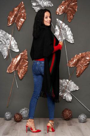 Cardigan SunShine negru casual lunga tricotat cu franjuri si maneci scurte
