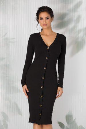 Cardigan tip rochie neagru lung