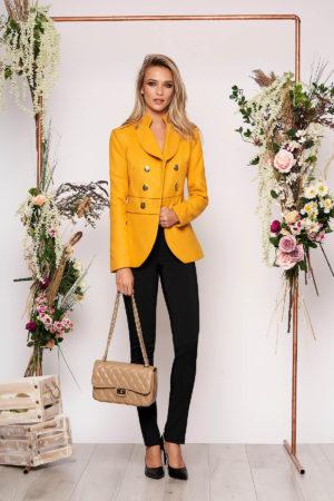 Jacheta LaDonna mustarie eleganta scurta material gros cu maneca lunga inchidere cu nasturi aurii