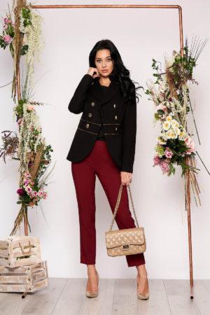 Jacheta LaDonna neagra eleganta scurta material gros cu maneca lunga inchidere cu nasturi aurii