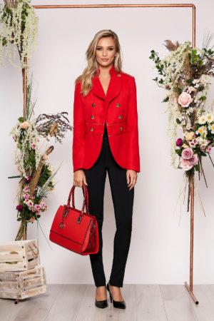 Jacheta LaDonna rosie eleganta scurta material gros cu maneca lunga inchidere cu nasturi aurii