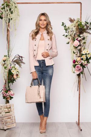 Jacheta LaDonna roz prafuit office elegant captusit pe interior accesorizat cu nasturi cu umerii buretati