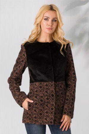 Jacheta Leonard Collection negru cu maro si detalii florale catifelate