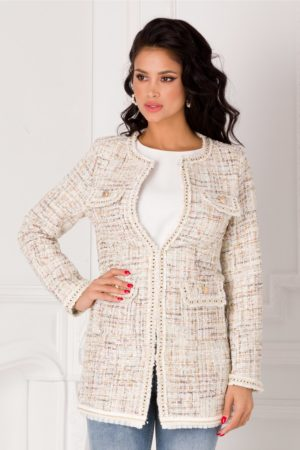 Trench ivory cu insertii pastelate