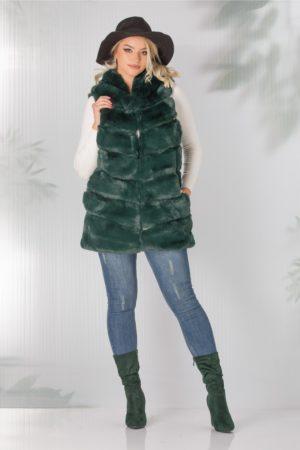 Vesta Wanda verde din blanita cu gluga