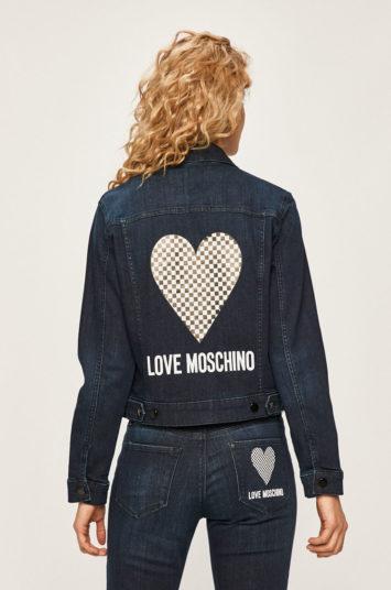 Geaca Love Moschino scurta bleumarin din bumbac cu croiala dreapta