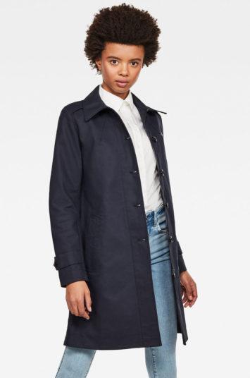 Palton G-Star Raw bleumarin din bumbac lung elegant cu croi drept