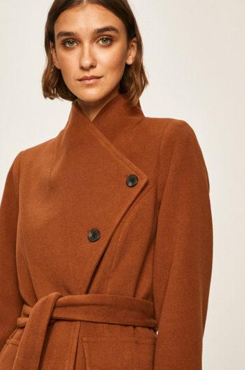 Palton elegant caramiziu de lana cu buzunare oblice Vero Moda